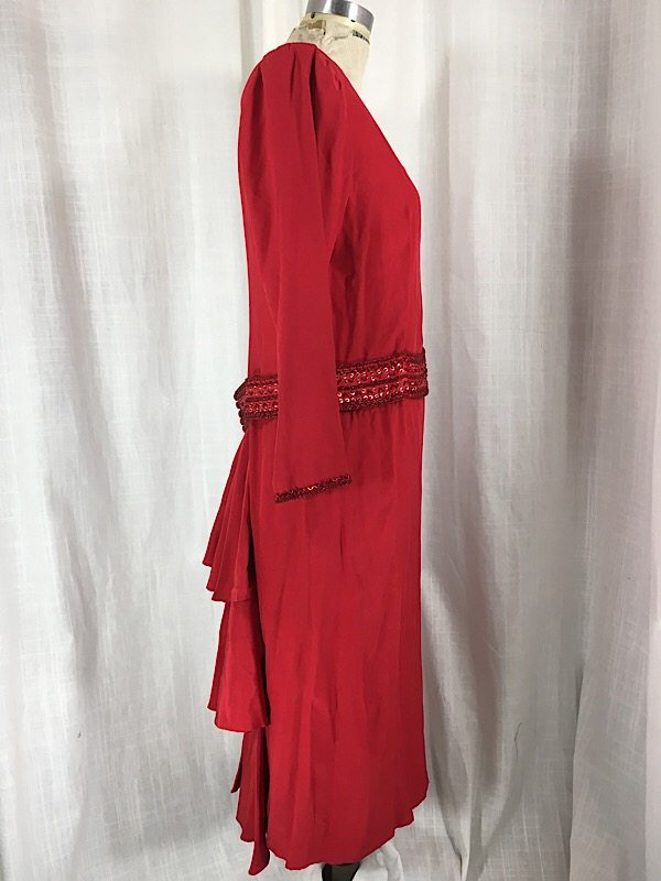 la-boudoir-miami-1980s-red-beaded-ruffle-dress-5