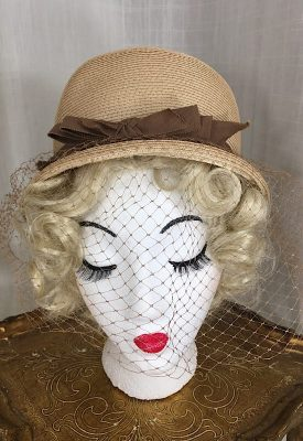 la boudoir miami 1960s brown straw hat with bow and veil (6)