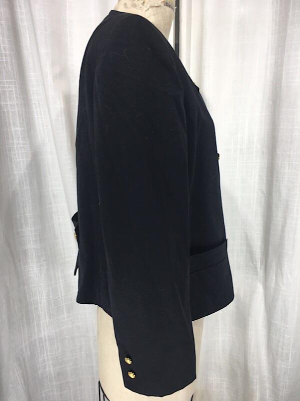 la boudoir miami 1980s lillie rubin black wool oversize double breasted jacket (5)