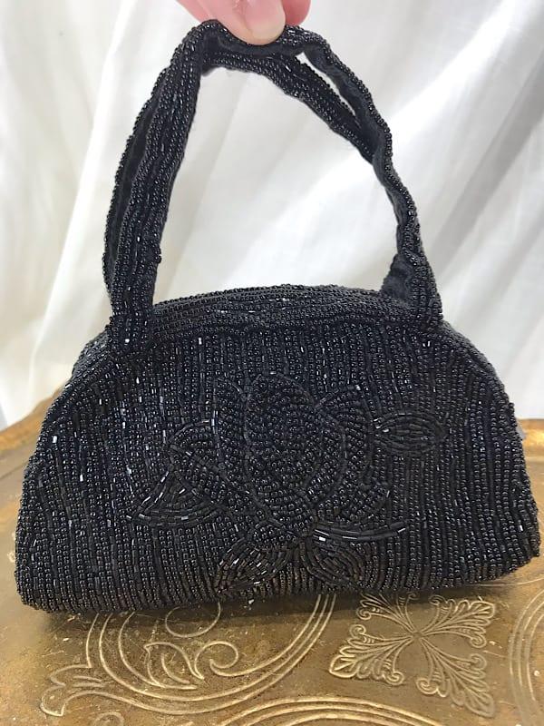 la boudoir miami vintage 1980s black rose beaded purse (6)