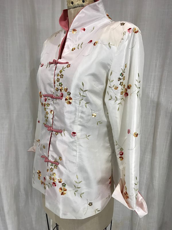 Vintage Inspired 40's White Satin Embroidered Jacket