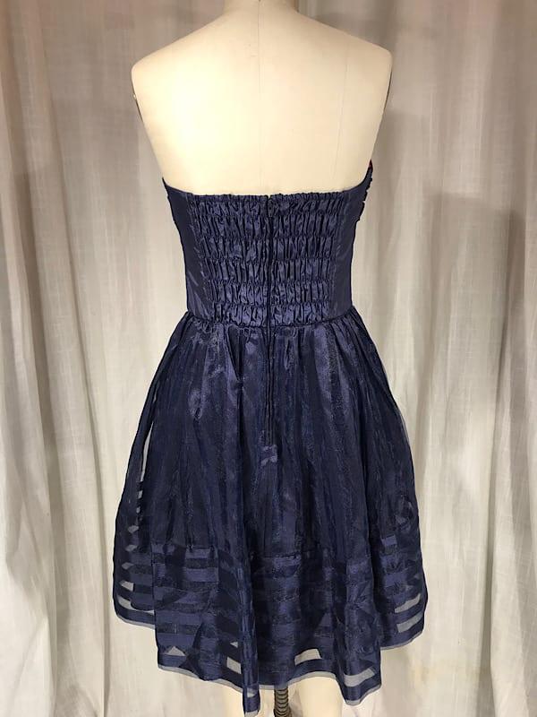 Vintage Inspired 50's Betsy Johnson Navy Strapless Cocktail Dress