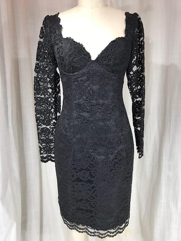 Vintage 1980's Black Lace Cocktail Dress