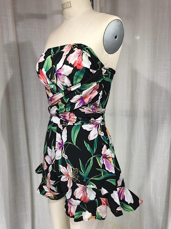 la boudoir miami vintage inspired 1950s black hibiscus print romper (4)