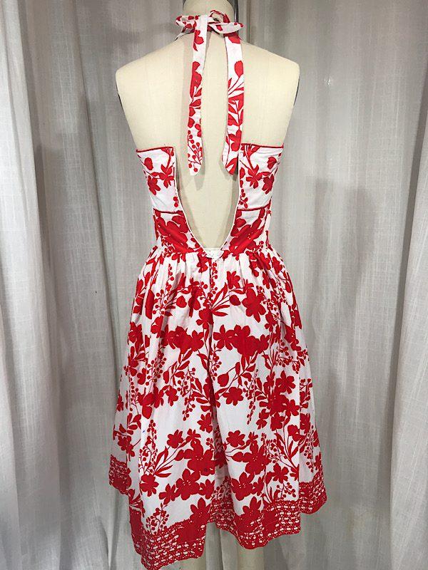 la boudoir miami vintage inspired 50s red and white flower print hlater dress (4)
