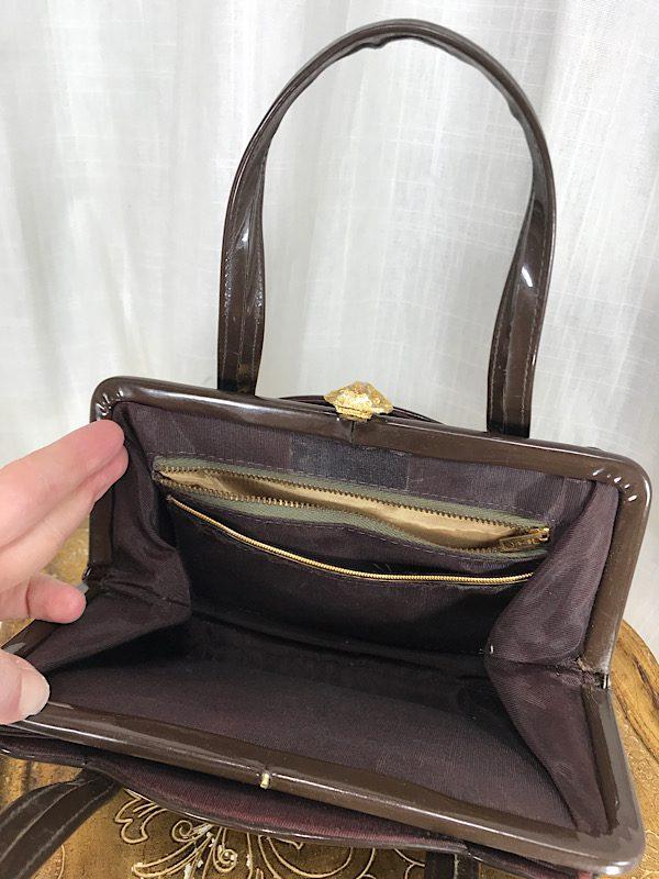 la boudoir miami vintage 60s brown patent leather small purse (1)