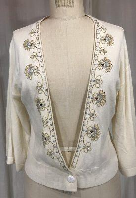 la boudoir miami vintage 90s beige beaded sweater (4)