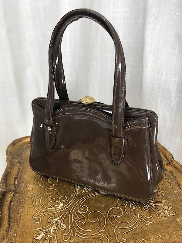 la boudoir miami vintage 60s brown patent leather small purse (2)